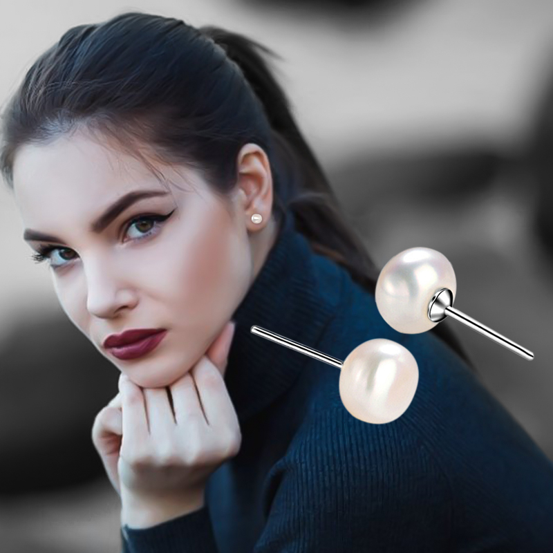Fashion Women natural freshwater pearl stud earrings S925 Sterling Silver Oblate Ear Stud Earring  For Christmas Jewelry Gift