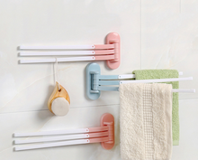 1PC ABS Rotating Towel Rack Bath Rail Hanger Towel Holder 3 Swivel Bars Bathroom Wall Mounted Towel Rack Holder
