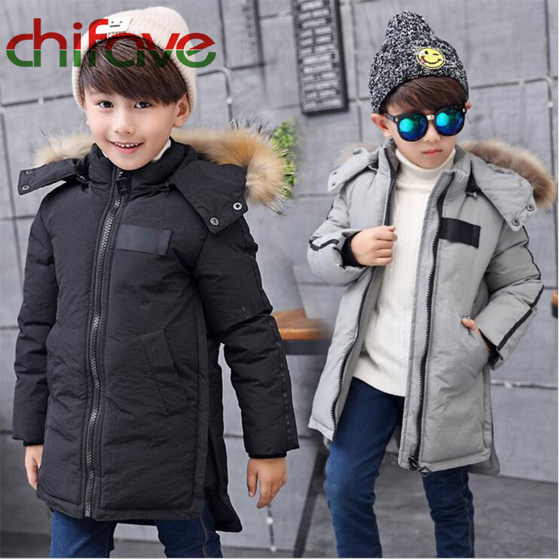 ФОТО 2017 Chifave  winter Kids Boys Causal Style Warm Down Coat Hooded Zipper Long Jacket With Pockets Baby Boys Outerwear 2 Colors
