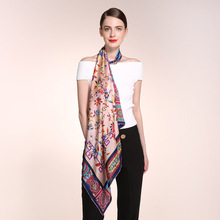 Fashion Printing Silk Scarf Large Size 90 * Female Square SILK Scarves Women Vintage Ethnic Style 100% Real Shawl HA759