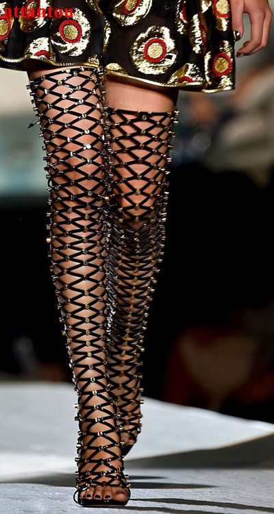 Black long boots cut outs woman long sandal boots summer fashion cool studed decor over-the-knee boot thin heel female shoes brown women sandal boots mesh net high heels stilettos real image long summer style boot sandals female knee sandal boots