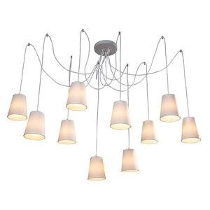 Image 2 - Moderne Mode Grote Spider Gevlochten Kroonluchters Wit Zwart Stof Shades 10 Lichten Opknoping Clusters Plafond Lamp Woonkamer