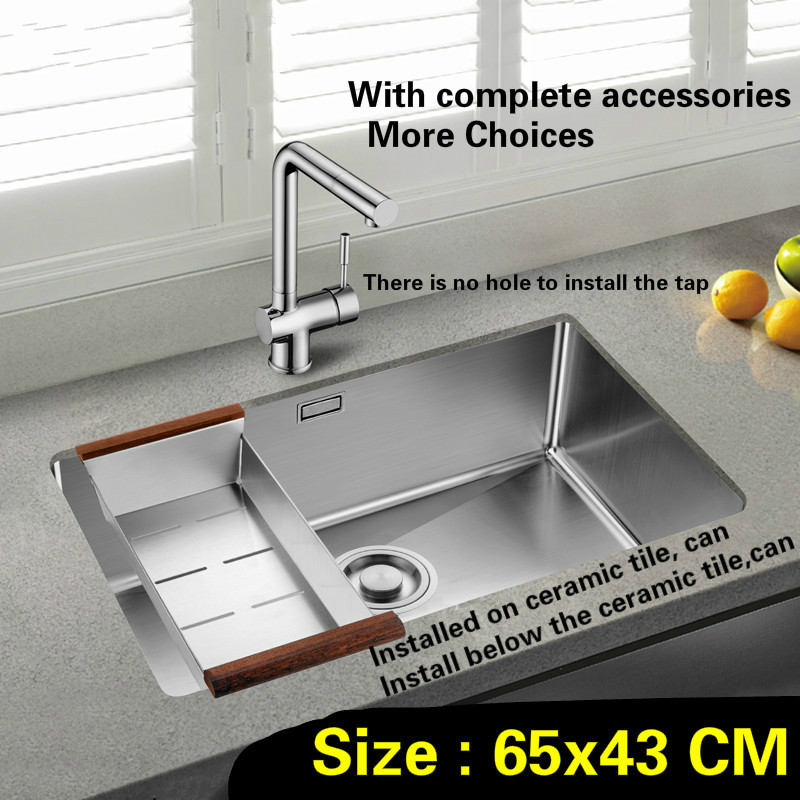 Free shipping Kitchen sink standard mini durable 304 stainless steel 3 mm handwork single slot hot sell 65x43 CM free shipping food grade 304 stainless steel hot sell kitchen sink double trough 0 8 mm thick ordinary 78x43 cm