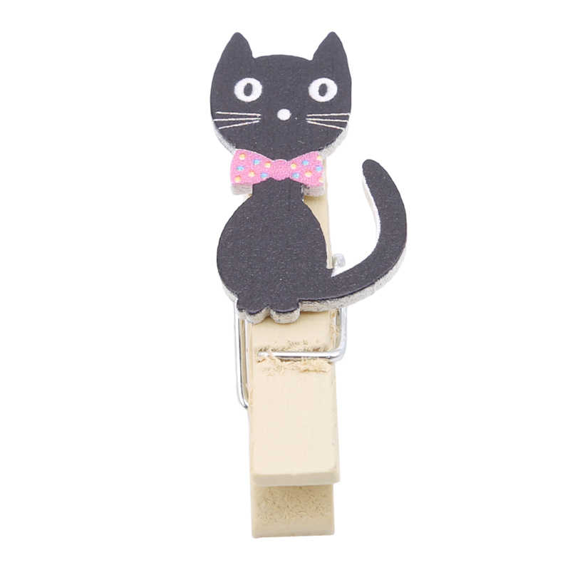 Cartoon Cat Mini Picture DIY Tool Paper Clip Home Office Storage Wooden Clips With Hemp Rope Clip