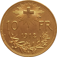 24 - K gold plated 1912 Switzerland 10 Franken coins copy Free shipping