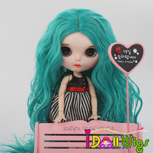 Green and Purple Long Curly Wigs for Blyth Dolls High Temperature Fiber Doll Hair Wig Only цена