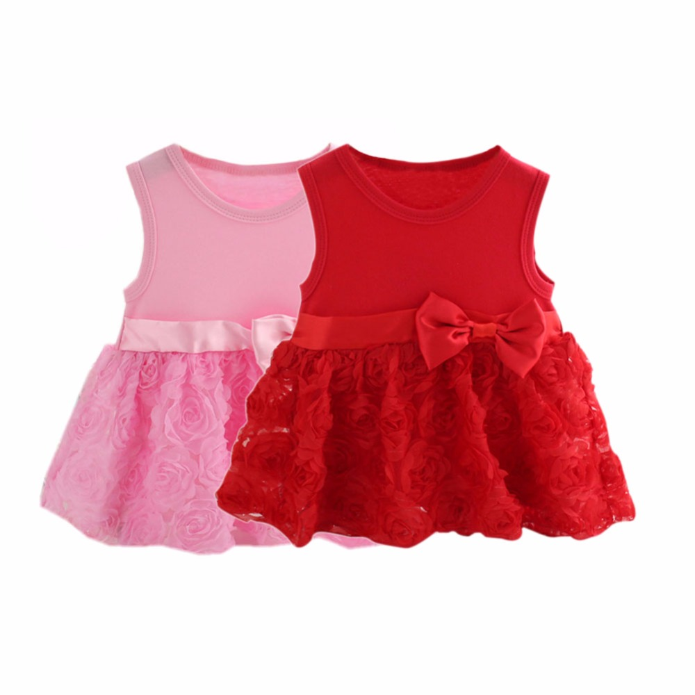 Pink Red 2018 New Kids Baby Girls Dresses Flower Sleeveless Party Lace Vestisos 0-5T girls party dresses 2018 new kids