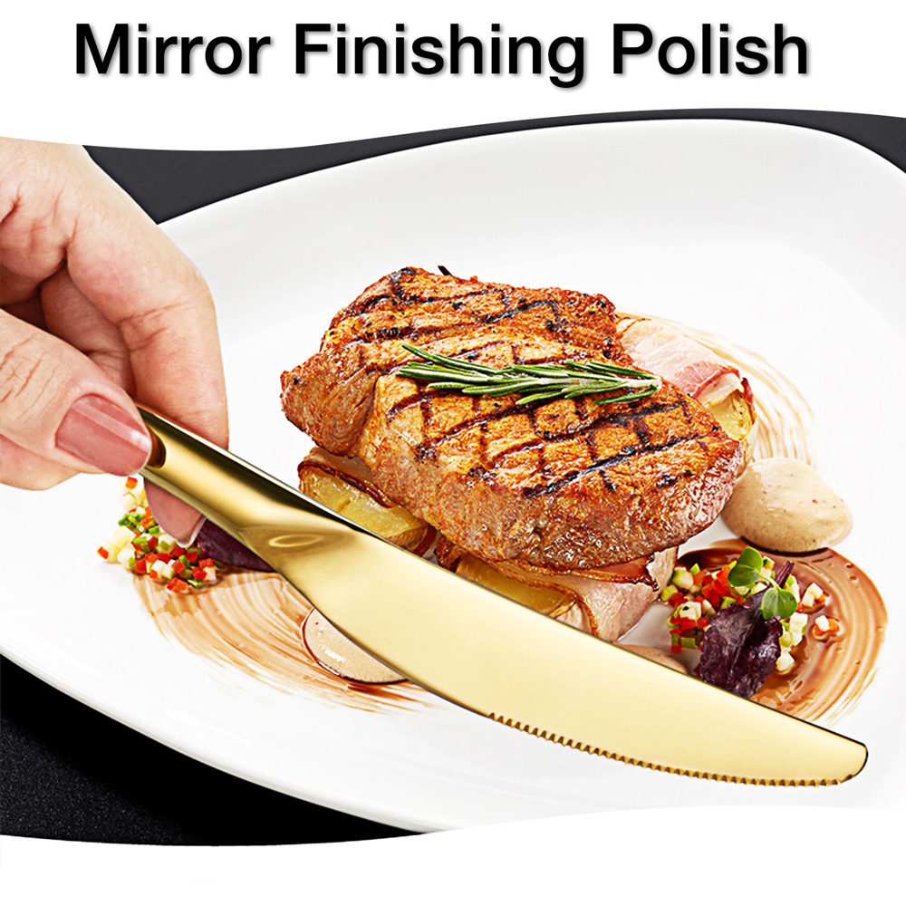 Image 5 - 24PCS Tableware Gold Cutlery Set Cutlery Dinner Set Dishes Knives  Forks Spoons Western Kitchen Dinnerware Stainless Steel HomeDinnerware  Sets