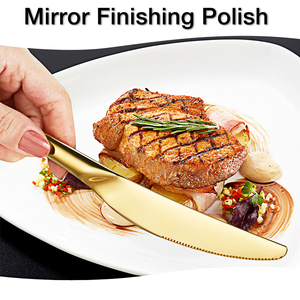 Image 5 - 24PCS Tableware Gold Cutlery Set Cutlery Dinner Set Dishes Knives Forks Spoons Western Kitchen Dinnerware Stainless Steel Home