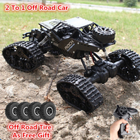 Boy Birthday Gift Electric 4WD Driving Remote Control Car Toy 1:16 2.4G 2 to 1 Alloy Car Body Tracked Off Road Vehicle RC Car