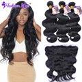 8a fashion plus cabelo brasileiro virgem com fechamento lace frontal encerramento com bundles 3 pacotes com fecho de cabelo humano feixes