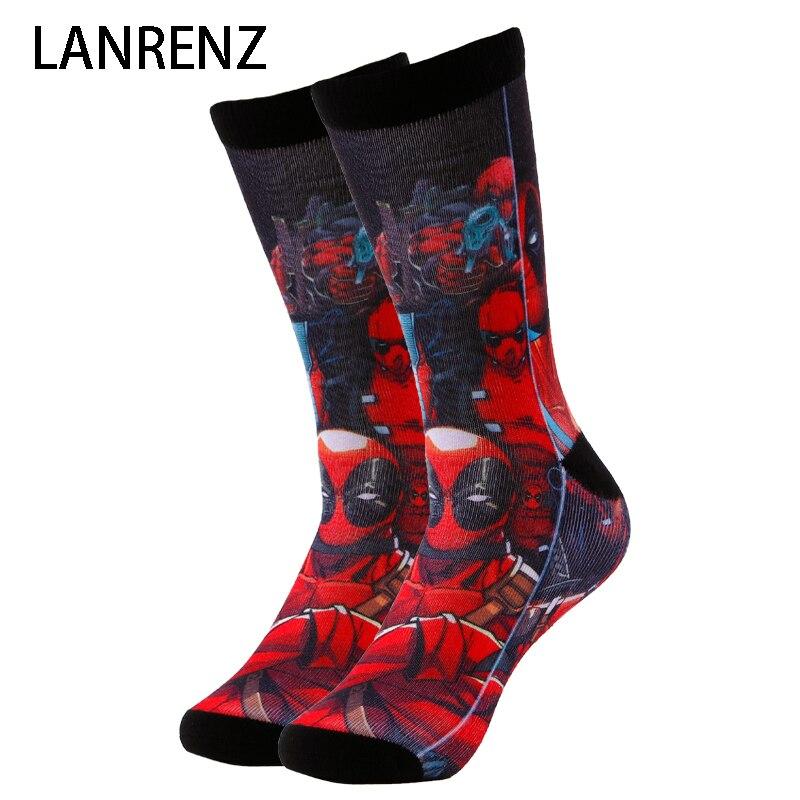 2018 méchant héros Deadpool Corps Hommes et femmes de mode Drôle chaussettes 3d imprimé chaussettes 200 à tricoter peinture à l'huile de compression chaussettes