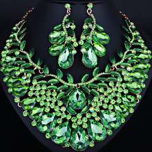 Wedding Jewelry Hand-painted leaf shaped Crystal Rhinestone Necklace Earring set African Bridal Jewelry Sets