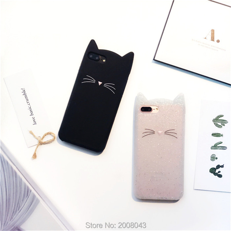 Lovely Glitter Cartoon Cute Kitty Cat 3D Silicon Phone Case for iPhone 7 7plus 6 6s 6plus 6splus 5 5s SE High Quality Cases