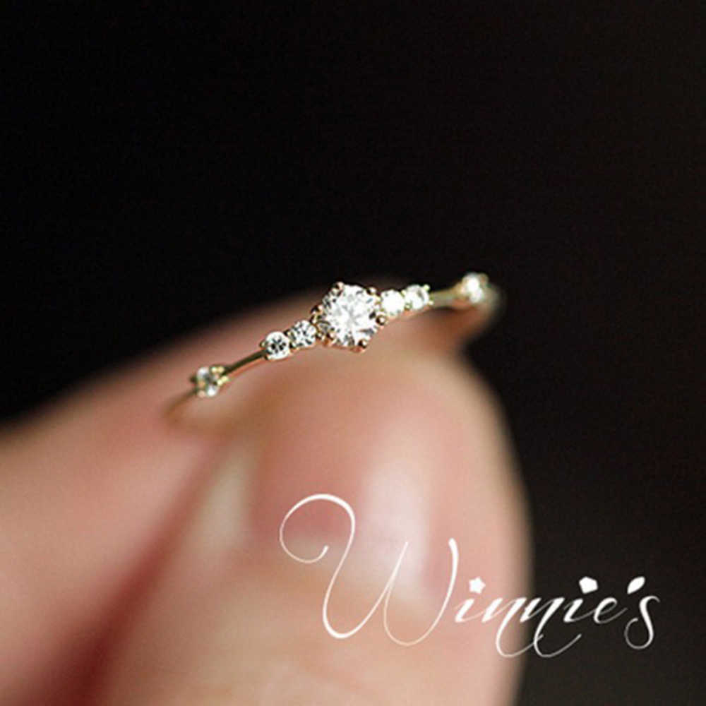 New Fashion Simple Crystal Pandora Rings For Women Gold/Silver Color Female Ring Party Wedding Jewelry Wholesale