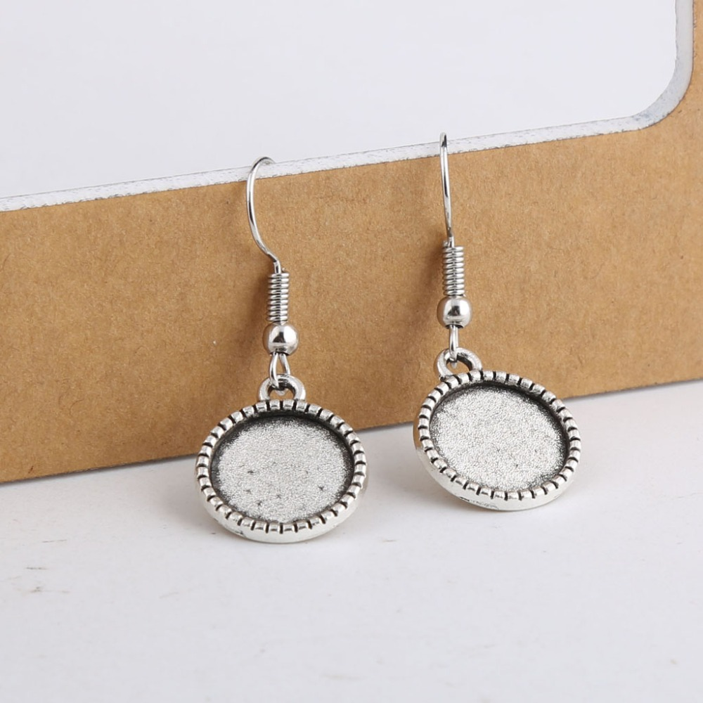 20pcs Fit 12mm Round Antique Silver Cabochon Earring Base Settings Blank Earrings Hooks Diy Jewelry Findings For Earring Making