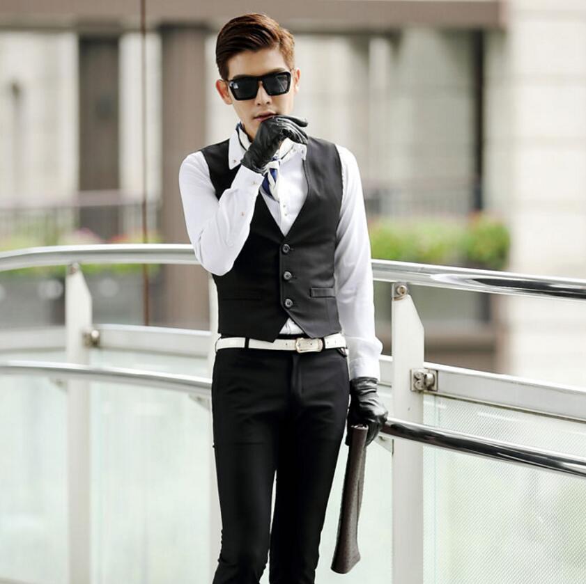 Solid color Vest Men Spring Slim Men's Fitted Dress Business Suit Vests Men Gilet Fashion Waistcoats formal occasion
