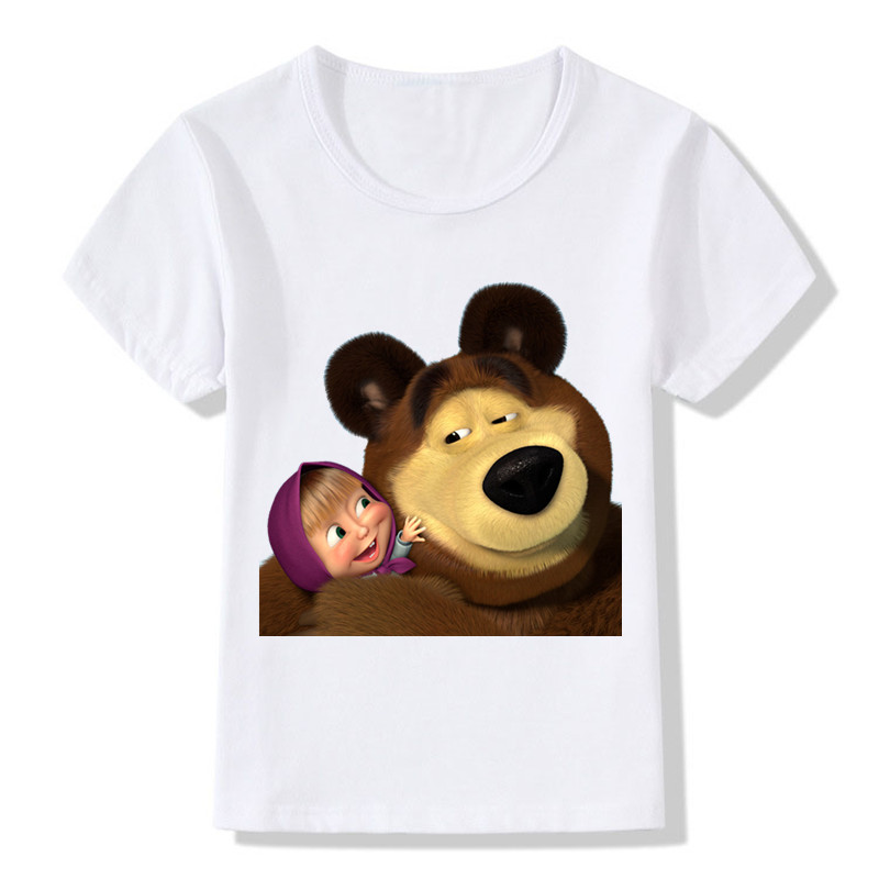 Children Cartoon Girl and Bear Pattern T shirt Baby Girls Boys Short Sleeve Summer T-shirt Kids Funny Clothes,HKP2100 freeshipping summer children boy baby kids black blue white cartoon pattern short sleeve sports cotton shirt t shirt pexz01p59