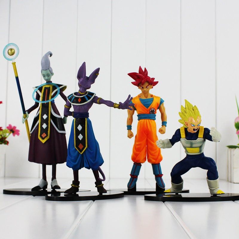 4pcs lot Action figure toys Dragon ball Battle of Gods Super Saiyan Son Goku Vegeta Whis