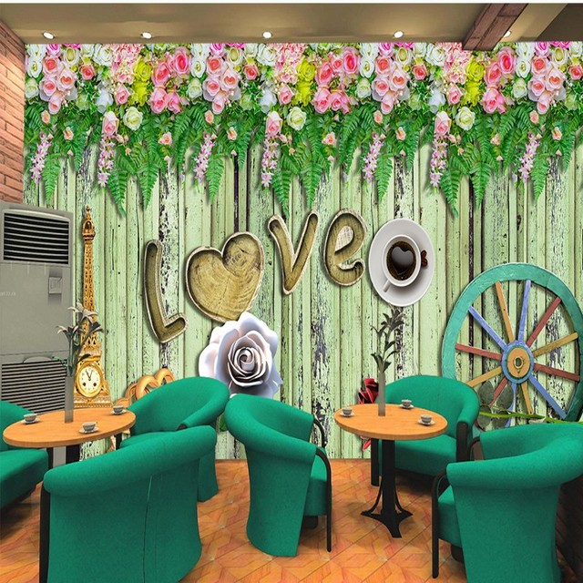 Photo Wallpaper Romantic Flower Colored Wood Background Wallpaper