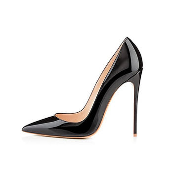 GENSHUO Women Pumps Brand High Heels Black Patent Leather Pointed Toe Sexy Stiletto Shoes Woman Ladies Plus Big Size 11 12 4