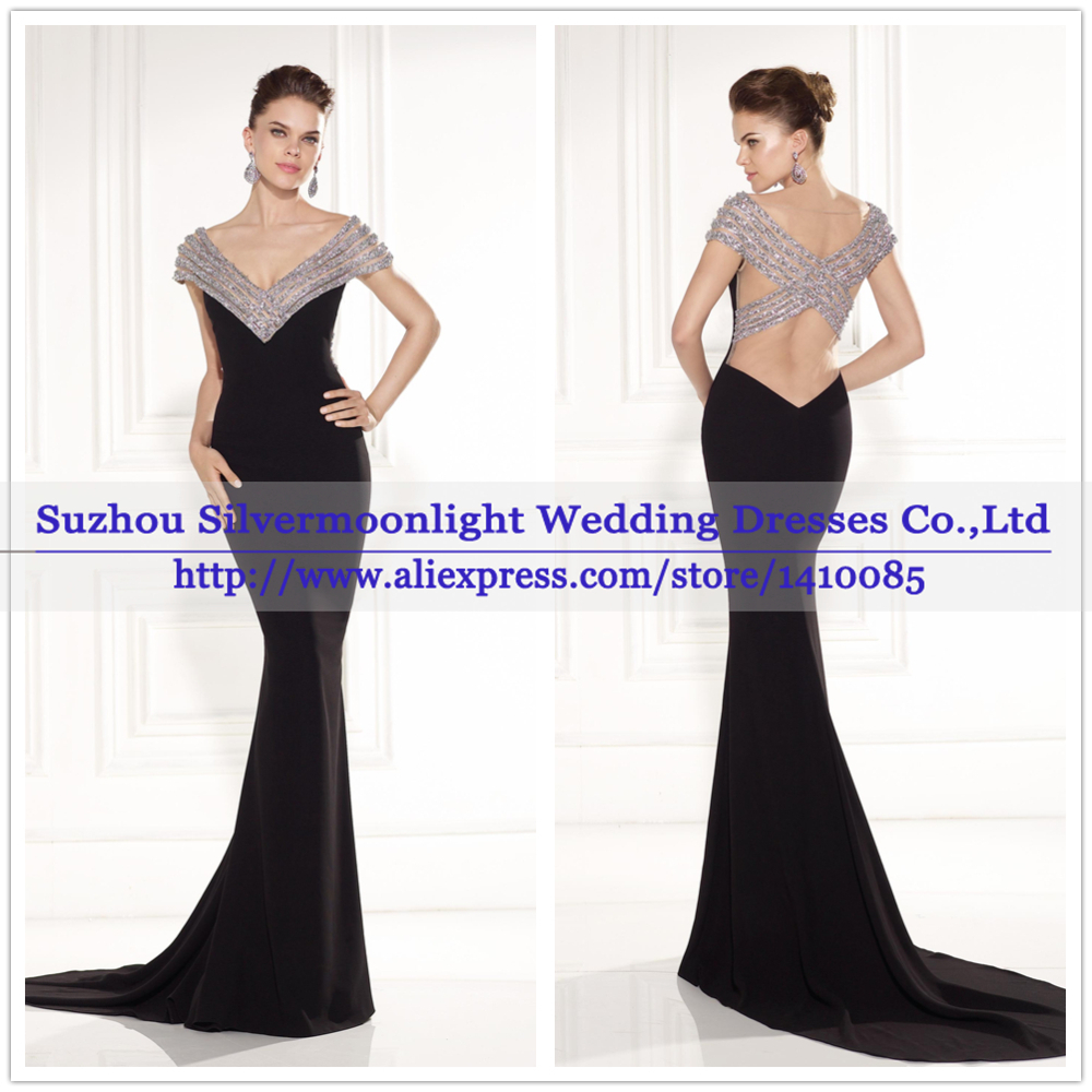 Hot Luxury Beaded Crystal Black Mermaid Evening Dress Dinner V Neck Cap Sleeves Train Back Skin Color Party Gowns In Dresses From
