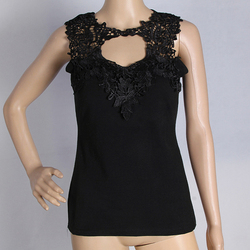 Sexy women t shirts solid lace perspective sleeveless slim fit tee tops vest camisole lj9126r.jpg 250x250