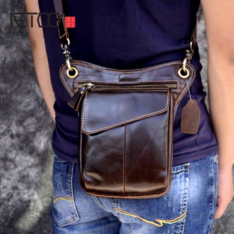 AETOO масло воск кожи мужские карманы кошелек кожаный мешок повседневная сумка прилив Баотоу слоя ногу сумка ретро мобильного телефона кожан…