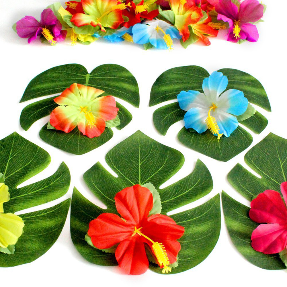 30pcs artificial tropical palm leaves24pcs hibiscus flower hawaiian jungle beach theme family garden wedding party table decor 1we accept alipay west union tt all major credit cards are accepted through secure payment processor escrow izmirmasajfo