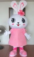 Одежда большой головой розовый кролик Маскоты костюмы мультфильм куклы животных для Хэллоуина вечерние события