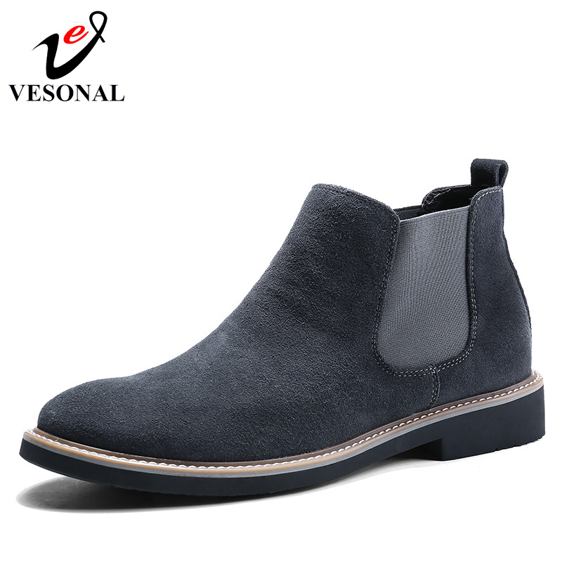 VESONAL Autumn Fashion Casual For Men Ankle Chelsea Boots Male Shoes Cow Suede Leather Quality Slip