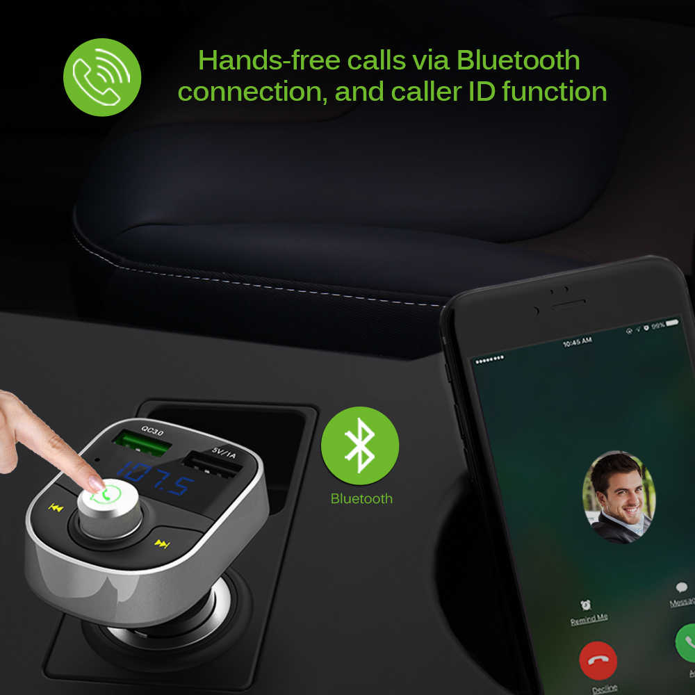 ONEVER Bluetooth Kit de coche transmisor FM MP3 jugador coche transmisor fm para xiaomi roidmi 2 s mp3 usb reproductor