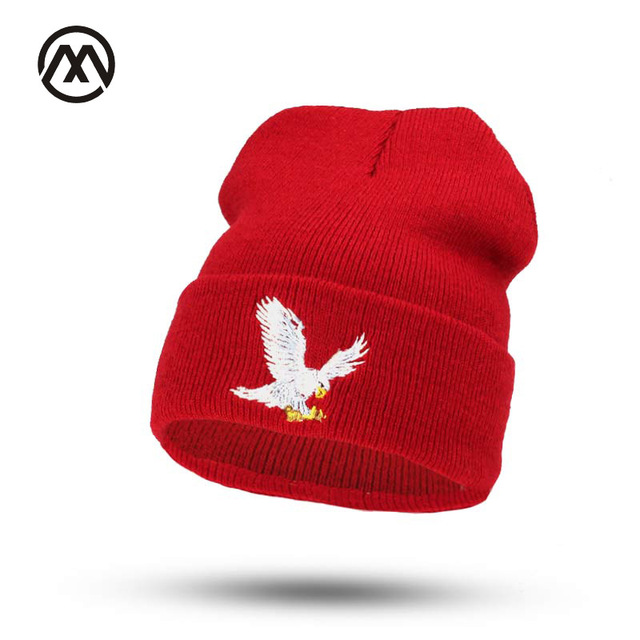 0caadec4fa4 New eagle embroidered hat man winter warm knit hat woman fashion Beanies   skullies toca feminina