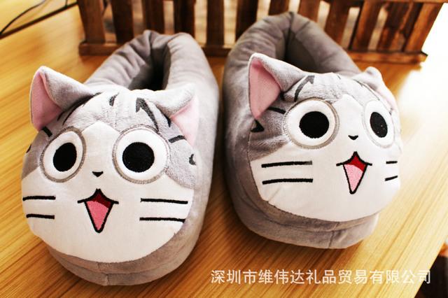 Grande Dos Desenhos Animados do Gato do Chi Chinelos Mocasines Cinza Suave Sweety Mulheres de Pelúcia Meninas Sapatos Mocassim Loafers pantufa cosplay