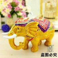 Europäische malerei handwerk, metall-handwerk Kreative gold gemalt Thai elefanten, desktop dekoration ornamente geschenk (A449)