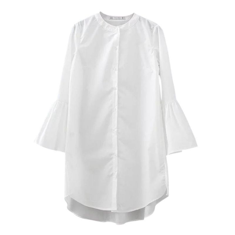 Women White Flare Sleeve Shirt Dress Summer Stylish O Neck Loose Mini Dresses Straight Comfy Woman Bloues Casual Clothing Tops