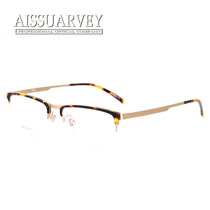 Calidad Superior ojo Gafas marcos mujer hombres metal placa semi-rim ...