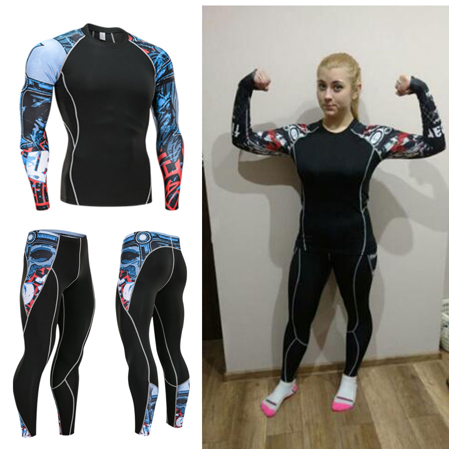 2018 19 Suit Women Sports Women's Running Suit Fleece Thermal Underwear Compression Tights Shirt +Training Leggings 2 Piece Kit