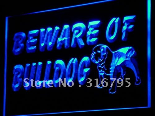i837 Beware of Bulldog Display Dog LED Neon Light Sign On/Off Switch 20+ Colors 5 Sizes