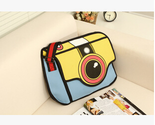 Fashion 2d bags hot sale unique high quality canvas Unisex messenger bag!Nice stereo gismo camera pattern cartoon handbags gift