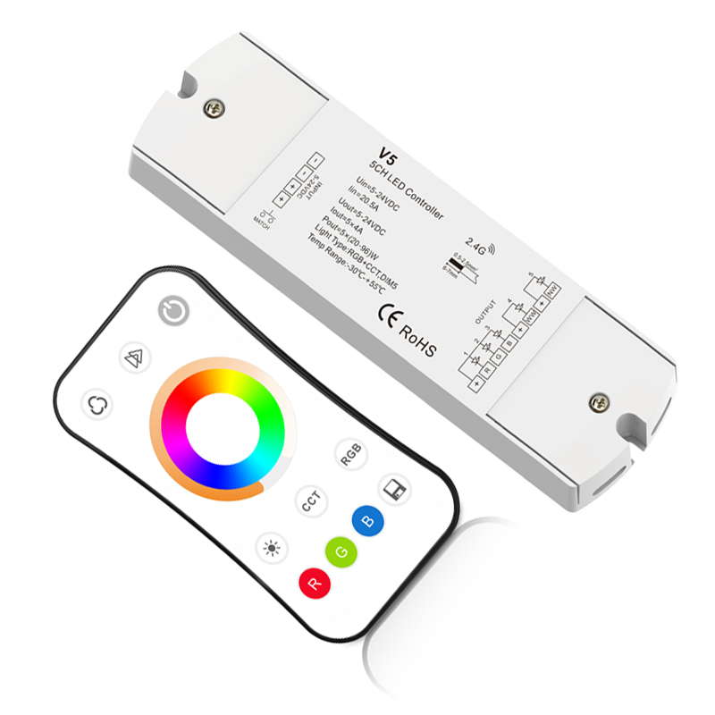 Impartial New Led Rgb cct Strip Controller 2.4g Rf Remote Wireless 4a*5ch Output Dc12v-24v 1 Zone Rgb Cct Led Strip Controller V5+r17 Lights & Lighting Lighting Accessories