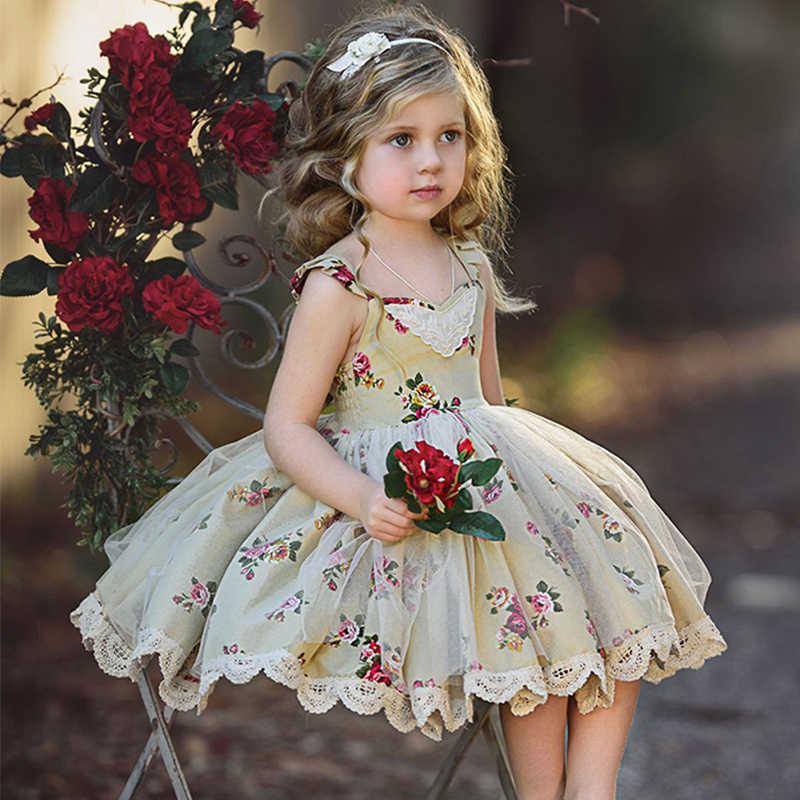 קיץ תינוק ילדי שמלות בנות שכבות לפרוע טוטו שמלת המפלגה תחרות נסיכת שמלת חמוד ילדי תינוק בנות בגדי 1-5Y