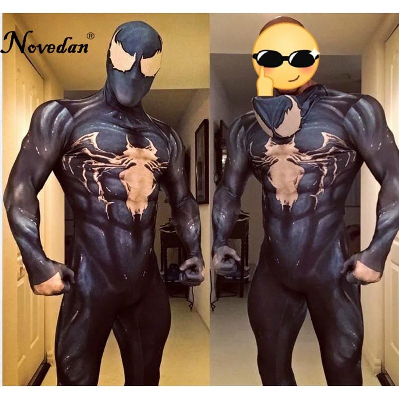 New 2018 Venom Symbiote Spiderman Costume Movie Venom Cosplay Marvel Black Zentai Suit Halloween Costumes For