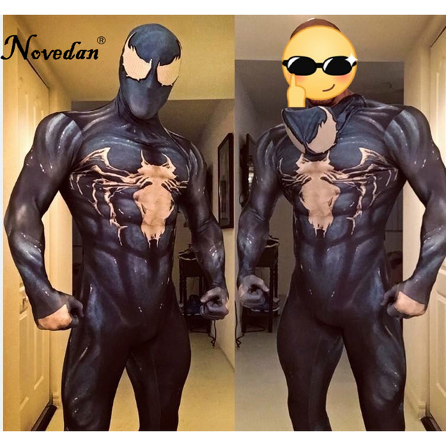 6123dd077da8b 2018 nuevo simbionte Venom disfraz de Spiderman disfraz de la película  veneno Cosplay Marvel negro traje