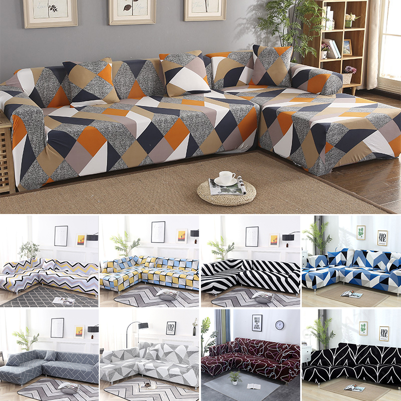 New 2pcs Covers For Sofa L Shape Living Room L Shaped Couch Slipcover Case Chaise Longue Corner Sofa Cover Elastic Stretch