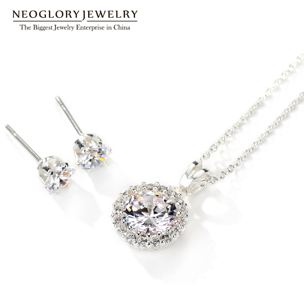 Neoglory Earrings Wedding-Jewelry-Sets Necklaces Christmas-Gifts Round Silver-Plated
