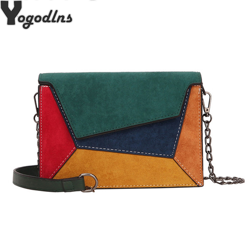 Flap-Bag Chain-Strap Messenger-Bag Criss-Cross Leather Patchwork Small Quality Fashion