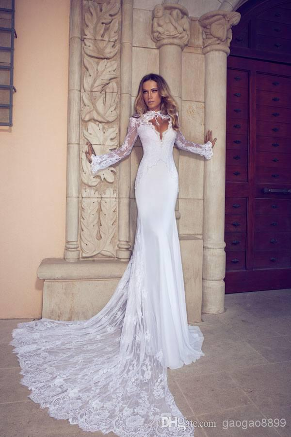 Online Shop 2015 Fashion Lace Tulle Long Sleeved High Neck Backless White Sexy Mermaid Wedding Dress Tail