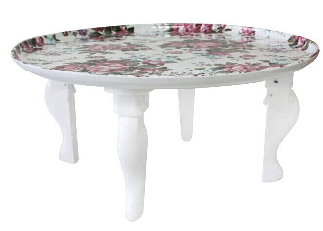 Korean Table Legs Foldable White Finish Living Room Furniture Round Coffee Asian Modern Fashion Floor Low Dining