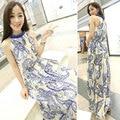 Fashion Women Summer Halter Blue and White Print Long Dress Chiffon Sleeveless Tank Casual Dresses Vestido Vestir for Woman
